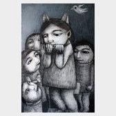 On joue à chat perché, dessin sur bois, 70x50cm