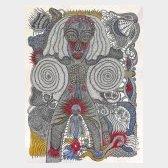 Les yeux ouverts - encre et crayon de couleur sur papier,76x57cm