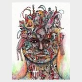 Autoportrait - Encre de Chine et crayons sur papier - 32x24cm